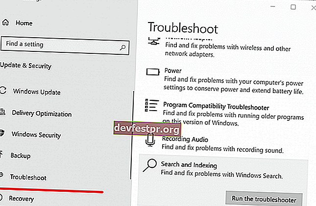 Windows Troubleshoot Search and Indexing