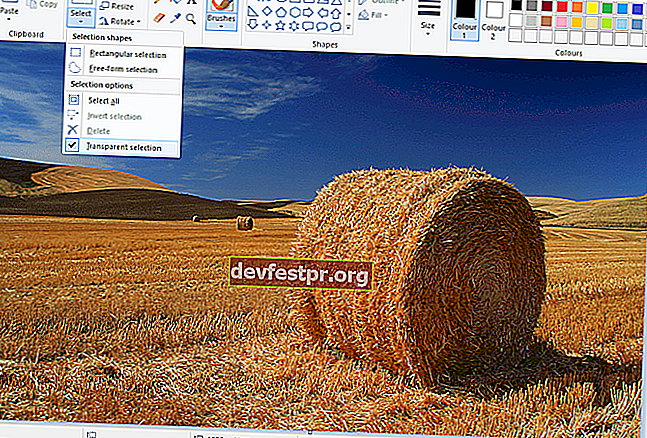 Windows 10'da Paint'te şeffaf arka plan