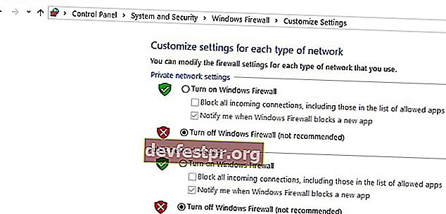 desligue o firewall do windows pc