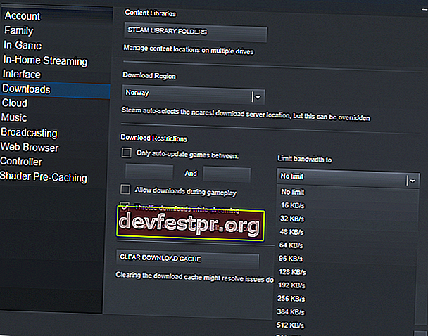 Begrenzen Sie die Bandbreite Steam Slow Download Windows 10