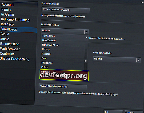 Steam Download Region langsame Download Geschwindigkeit Windows 10